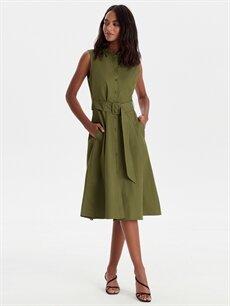 %100 Pamuk Diz Altı Düz Kolsuz Kuşaklı Pamuklu Poplin Elbise