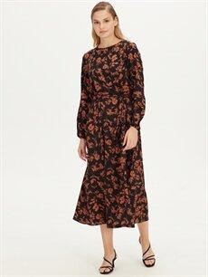 Lacivert Çiçek Desenli Uzun Krep Elbise 9WH953Z8 LC Waikiki
