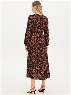 Kadın Çiçek Desenli Uzun Krep Elbise