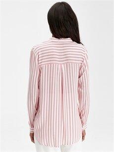 Kadın Çizgili Viskoz Gömlek