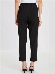 %64 Polyester %5 Elastan %31 Viskon Standart Normal Bel Lastikli Bel Kumaş Pantolon Bilek Boy Beli Lastikli Kumaş Pantolon