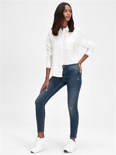 %84 Pamuk %14 Polyester %2 Elastan Normal Bel Dar Jean Skinny Jean Pantolon