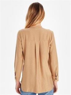Kadın V Yaka Jakarlı Gömlek