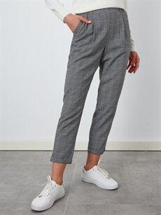 %65 Polyester %35 Viskon Lastikli Bel Pantolon Normal Bel Havuç Beli Lastikli Ekose Havuç Pantolon