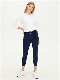 %62 Pamuk %33 Polyester %5 Elastan Normal Bel Skinny Kemerli Pantolon Kemerli Skinny Pantolon