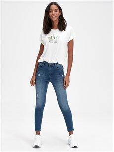 %84 Pamuk %14 Polyester %2 Elastan Yüksek Bel Dar Jean Bilek Boy Super Skinny Jean Pantolon