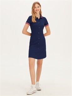%92 Viskon %8 Elastan Diz Üstü Desenli Kısa Kol Esnek Mini Gömlek Elbise