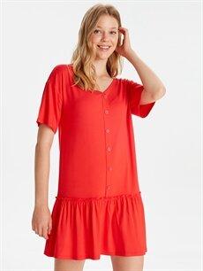 %95 Viskon %5 Elastan Diz Üstü Düz Kısa Kol Fırfır Detaylı Viskon Elbise