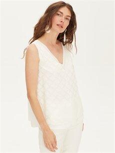 %100 Polyester  V Yaka Şifon Bluz