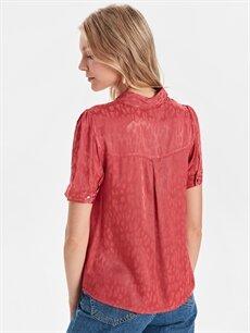 Kadın Leopar Desenli Saten Bluz