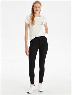 %62 Pamuk %34 Polyester %4 Elastan Normal Bel Esnek Dar Jean Super Skinny Jean Pantolon