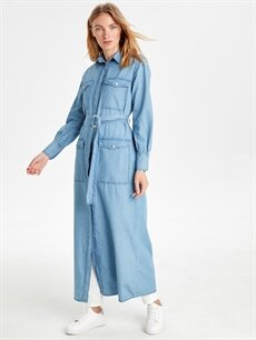 %100 Pamuk  Kendi Kumaşından Kuşaklı Uzun Jean Tunik