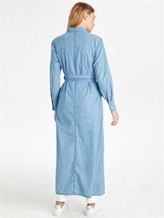 Kadın Kendi Kumaşından Kuşaklı Uzun Jean Tunik