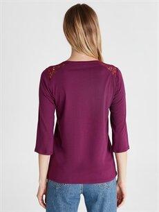 Kadın Omuzları Dantel Detaylı Pamuklu Tişört