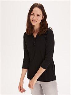 %54 Polyester %46 Viskoz Standart Uzun Kol Tişört Diğer Yakası Düğmeli Tişört