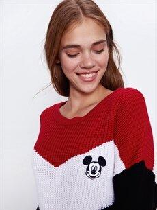 Kadın Mickey Mouse Baskılı Renk Bloklu Triko Kazak