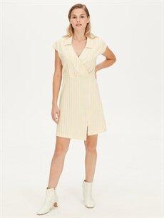 Sarı Kruvaze Yaka Çizgili Elbise 9WJ661Z8 LC Waikiki