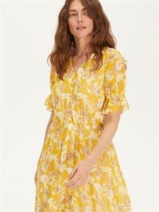 LC Waikiki Sarı Çiçekli Şifon Elbise