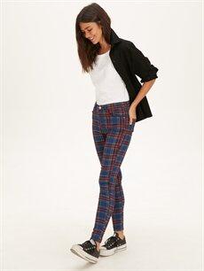%67 Pamuk %30 Poliester %3 Elastan Normal Bel Skinny Esnek Dar Paça Pantolon Ekose Skinny Pantolon