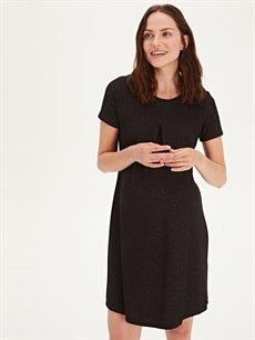 %64 Polyester %2 Elastan %34 Viskon Elbise Işıltılı Hamile Elbise