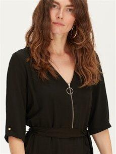 %31 Polyester %69 Viskoz Yakası Fermuarlı Maroken Elbise