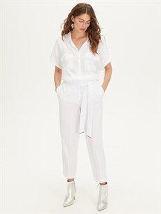 %94 Polyester %6 Elastan Normal Bel Esnek Havuç Pantolon Bilek Boy Kuşaklı Havuç Pantolon