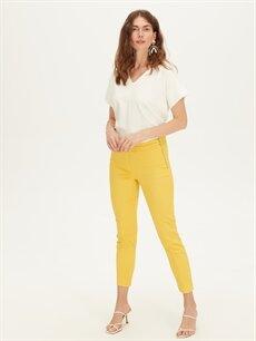 %66 Pamuk %30 Polyester %4 Elastan Normal Bel Esnek Skinny Kumaş Pantolon Bilek Boy Skinny Kumaş Pantolon