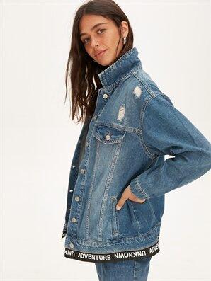 Slogan Detaylı Jean Ceket - LC WAIKIKI