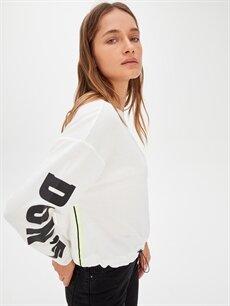 %65 Polyester %35 Viskon  Kolları Slogan Baskılı Sweatshirt