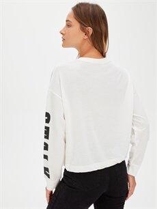 Kadın Kolları Slogan Baskılı Sweatshirt