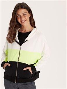 %71 Pamuk %29 Polyester  Renk Bloklu Kapüşonlu Fermuarlı Sweatshirt