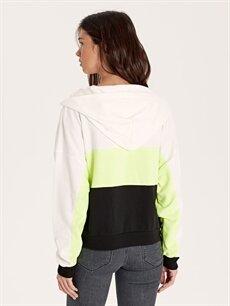 Kadın Renk Bloklu Kapüşonlu Fermuarlı Sweatshirt