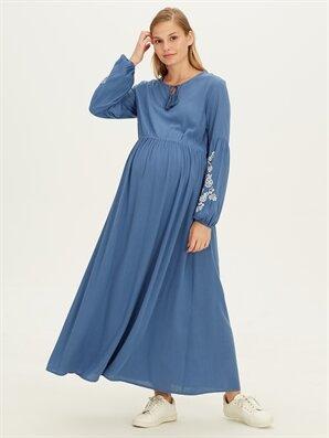 Kolları İşlemeli Viskon Uzun Hamile Elbise - LC WAIKIKI