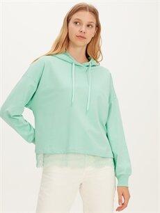 %100 Pamuk  Dantel Detaylı Kapüşonlu Sweatshirt