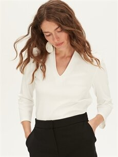 %87 Polyester %13 Elastan Var Dar V yaka Düz Uzun Kol Tişört Kendinden Desenli V Yaka Dar Tişört
