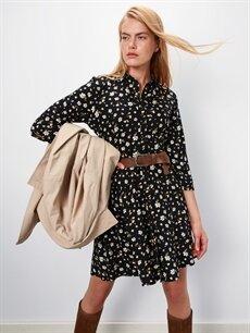 %100 Viskoz Diz Üstü Desenli Kısa Kol Çiçek Desenli Gömlek Elbise