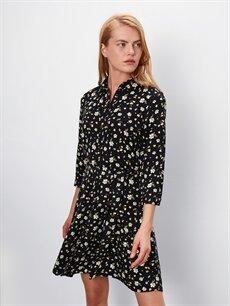 Kadın Çiçek Desenli Gömlek Elbise