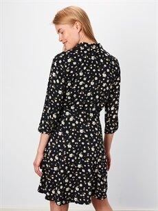%100 Viskoz Çiçek Desenli Gömlek Elbise