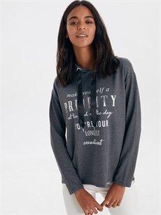 Antrasit Slogan Detaylı Sweatshirt 9WK440Z8 LC Waikiki
