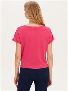 Kadın Beli Bağlama Detaylı Baskılı Pamuklu Tişört