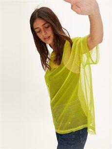 Yeşil Neon Salaş Transparan Tişört 9WK483Z8 LC Waikiki