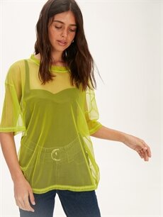 %100 Polyester Standart Düz Kısa Kol Tişört Bisiklet Yaka Neon Salaş Transparan Tişört