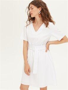 %90 Polyester %10 Elastan %100 Polyester Diz Altı Düz Kısa Kol Kemerli V Yaka Düz Elbise