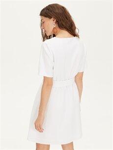 %90 Polyester %10 Elastan Kemerli V Yaka Düz Elbise