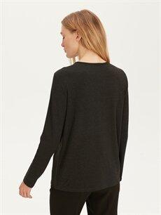 Kadın Pul İşlemeli Uzun Kollu Tişört