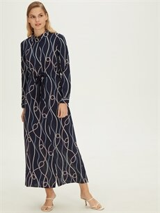 %100 Viskoz Uzun Desenli Uzun Kol Uzun Gömlek Elbise