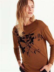 Kadın Baskılı Uzun Kollu Tişört