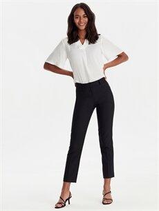 Siyah Bilek Boy Düz Paça Kumaş Pantolon 9WK630Z8 LC Waikiki
