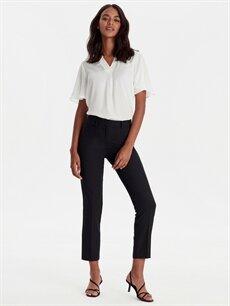 %94 Polyester %6 Elastan Normal Bel Esnek Standart Kumaş Pantolon Bilek Boy Düz Paça Kumaş Pantolon