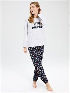 Lacivert Baskılı Pijama Takımı 9WK651Z8 LC Waikiki